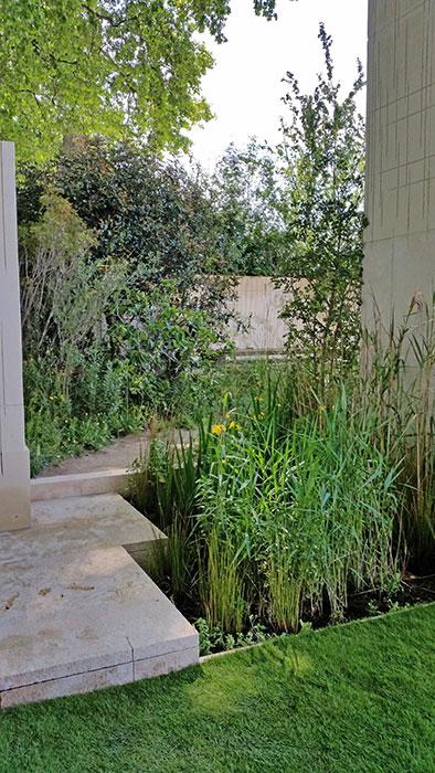 Våtparti med gul svärrdslilja möter en när man kommer in i trädgården. Entrén ligger bakom den andra pelaren, bakom den högsta. Foto: Kerstin Engstrand