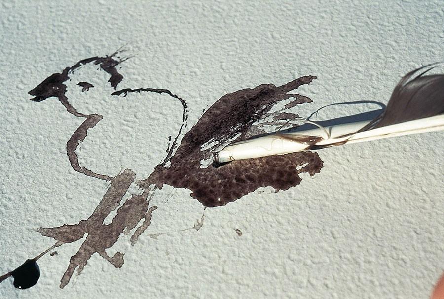 En fjäder från en skata hittades på gräsmatten och den blir en utmärkt penna. Foto: Kerstin Engstrand