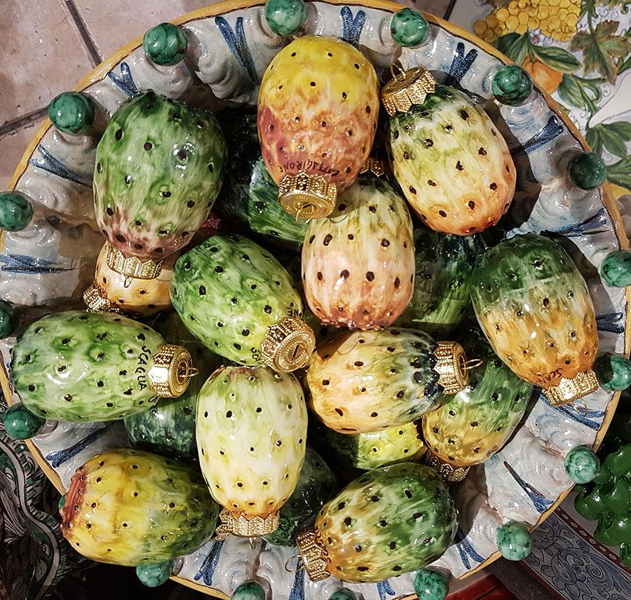 Juldekorationer till salu. Kaktusfikon från Sicilien. Foto: Kerstin Engstrand
