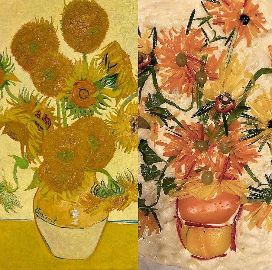 Till vänster Van Goghs motiv, till höger översatt till bröd (innan gräddning). Foto publicerat med tillstånd av Teri Culletto /Vineyardbaker