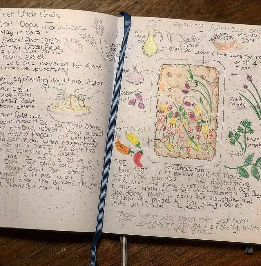 Inspirationsbilden överförs till noggranna anteckningar. Foto publicerat med tillstånd av Teri Culletto /Vineyardbaker